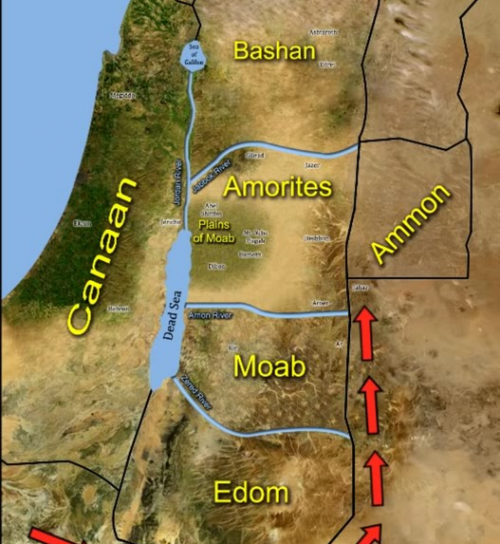 The Israelites Pitched right by Ammon Map 3
